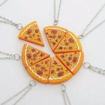 Kit 2 Correntes Colar Pizza Importado Cordão Melhores Amigos