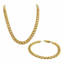 Corrente+pulseira Masculino Grumet Italiana Dourada Aço Inox