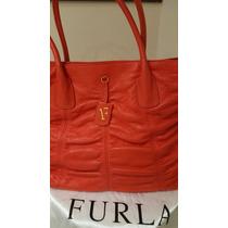 Cartera Furla Italiana Rojo-coral. Con 2 Divisiones Internas