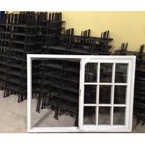 Ventana Aluminio Blanco Vidrio Repartido Con Reja 150x110