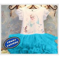 Hermosos Vestidos De Frozen Disney Elsa Niña Cortos Moda