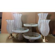 Vasos Com Cristais -2 45cm- 2 60cm -1 Trio Bandejas