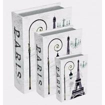 Conjunto Caixa Livro 3 Peças Em Mdf Estampa Torre Eiffel