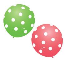 Balão Latex Nº9 Verde E Rosa Poá Branco - Bexiga Bolinha 50u
