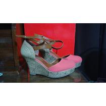 Zapatos Tacon De Cuña, Color Coral. Preciosa Correa Cruzada