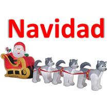Navidad Inflable Santa Claus Con Trineo De Perros Promocion