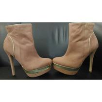 Ankle Boots Via Marte 36 Usado Bege Detalhe Dourado