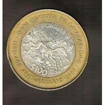 Moneda Bimetalica 100 Pesos Quijote