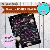 Kit Imprimible Diseña Poster Pizarra Pizarron 100% Editable!