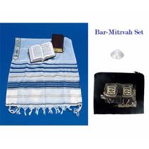 Conjunto Tefilin Talit Para Bar Mitzvah 48x68 Pulg Askenasi