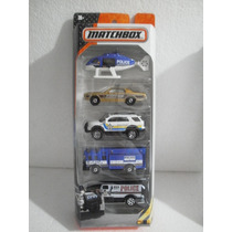 Matchbox 5 Pack Policia Patrulla Camion Helicoptero 1:64
