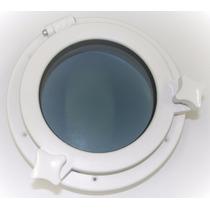Vigia Gaiuta Circular Em Abs Branco 26cm C/ Vidro Temperado