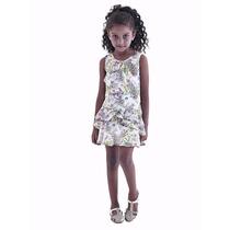 Vestido Infantil Estampado Gabriela Aquarela - Tamanho 2,3,4