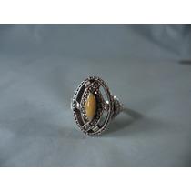 Anel Em Prata 925 Marcassitas E Dolamita Amarela Aro 17