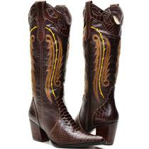 Bota Texana Feminina Anaconda Country Montaria Capelli Ziper