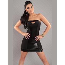 Sexy Mini Vestido Negro Strapless Con Vinyl Escote Corazon