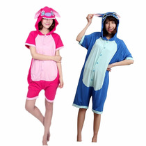 Pijama Enterito Lilo Y Stitch Kigurumi De Verano Azul/fucsia