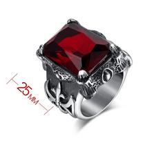 Anel Masculino Aço Inox Gótico Rock Medieval Vermelho Rubi