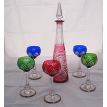 Antiguo Juego De Copas Y Botellon De Cristal San Luis