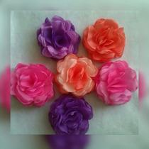 Flores De Tela Tipo Rosas Cintillos, Coronas De Flores 8cm
