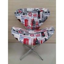 Poltrona Decorativa Giratória Base Cadeira