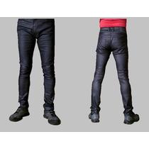 Calça Jeans Resinada Skinny Masculina Dixie Azul Petróleo