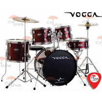 Bateria Vogga Talent Vpd904 Wr Vinho Metálico Bumbo 22
