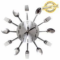 Relógio De Parede Cozinha Formato De Talheres Colher Garfo