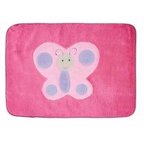 Tapete Infantil Borboleta Pink Em Pelúcia 68cmx48cm