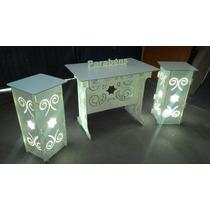 Kit 1 Mesa, 2 Cubos Iluminação Provençal Branco Mdf Arabesco