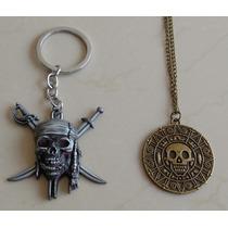 Collar Oro Azteca Y Llavero Piratas Del Caribe Jack Sparrow
