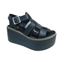 Sandalias De Mujer Plataforma Cuero Franciscanas Amme Shoes