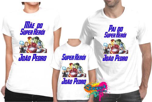 Camiseta - Camisa Personalizada Vingadores Marvel A4   3pçs - R  64 ... 77664dfe38ece