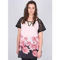 Blusa Plus Size Com Renda Feminina Donna Peck - Estampado