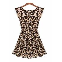 Vestido Luxo Chifon Onça Oncinha Leopardo - Importado Lindo
