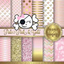 Kit Imprimible Pack Fondos Rosa Y Dorado Clipart