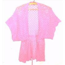 Kimono Saco Tejido Al Crochet Rosa Chicle, Impecable