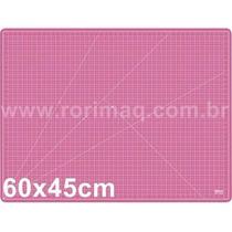 Base De Corte Rosa 60x45cm Scrapbook Patchwork Dupla Face