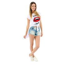 T-shirt Feminina Long Branca - Bad Manga Curta Cor Branco