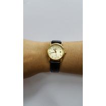 Relógio Mido De Ouro Feminino - Gold 750 - Pulseira De Couro