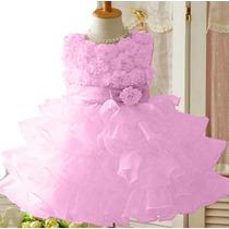 Vestido Infantil Festa Rosa Princesas Bailarinas P.entrega!