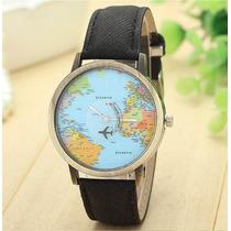 Reloj Pulsera Viajeros Avion Mundo Mapa Mochileros