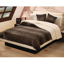 Cobertor Borrega Leopardo Matrimonial