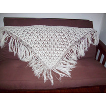 Aurojul-chal Triangulo Tejido Mano Lanacrochet-grande-blanco
