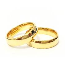 Alianças De Casamento Folheada Ouro 18k 6mm Tungstênio Trad