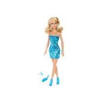 Barbie Glitz Fash Basi Vestido Brillante Azul Muñecas Mattel