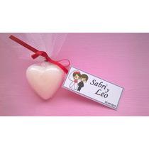 Jabones Corazon Souvenir Con Tul Cinta Y Tarjeta 10 Unidades