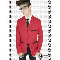 Saco Blazer Entallado (ultima Moda) Color Rojo