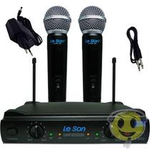 Microfone Sem Fio Duplo Leson Ls 902 Ht + Case Kadu Som