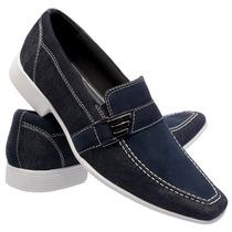 Sapato Social Masculino Em Couro E Jeans Solado Costurado